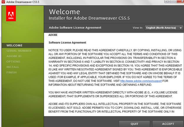 License agreement for Dreamweaver