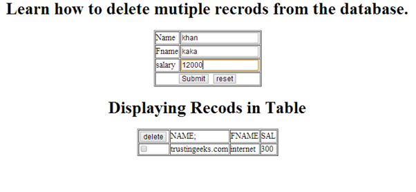 displaying data insertion