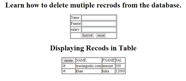 displaying to delete the selected multiple records