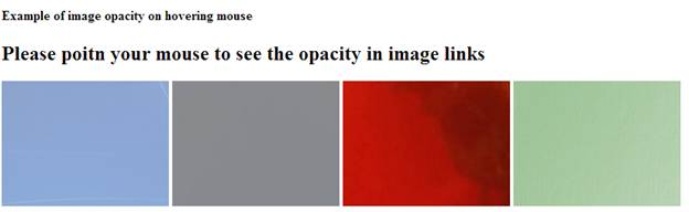script of image link opacity effects on mouse hovering. If you will hover your mouse, color frame will change its intensity of transparency