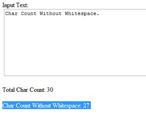 Char count without whitespace