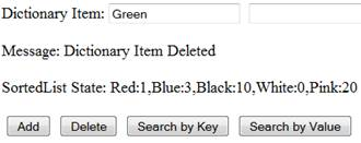 Delete Item - (Green,2) is removed from Dictionary