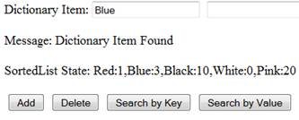 Search by Key - The 'Blue' found in dictionary key