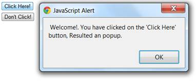 output of onclick event script which is showing a pop up message after clicking the click here button