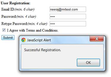 Validation checking also checks the length of entered Email ID and password