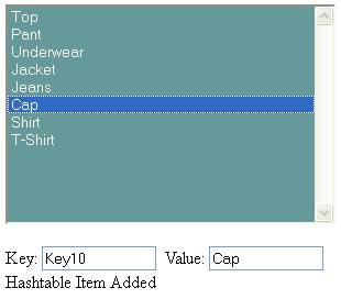 HashTable Key-Value Pair Added (Key10, Cap)