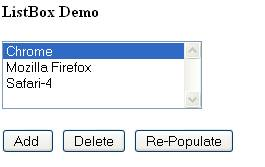 Delete Item - One item is deleted from ListBox - Internet Explorer