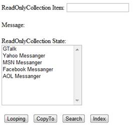ReadOnlyCollection Items with Messenger Data