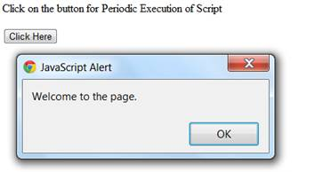 setinterval () method in which after clicking the button alert box appears after every 2 second