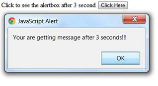 setTimeout () method which shows alert box after 3 second