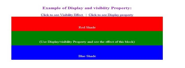 figure is example of display and visibility property. You can see the effects of individual property by toggling the each link button shown in figure