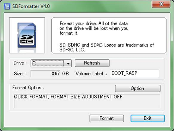 Main interface of the SDFormatter program