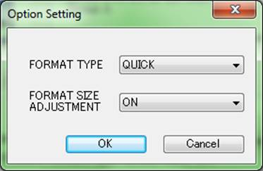 The Option Settings window of the SDFormatter tool.