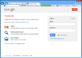 The Google Accounts Page
