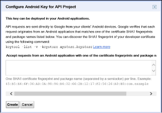 The Configure Android Key for API Project Dialog Box