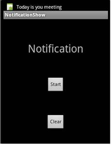 Notification will appear at top when user click on start button