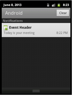 Notification shown in expand view.