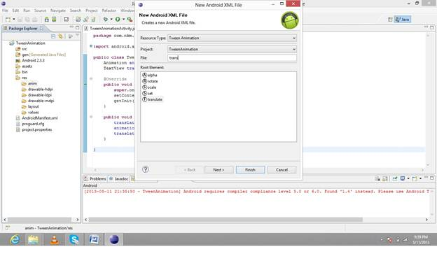 Creating an Android xml file