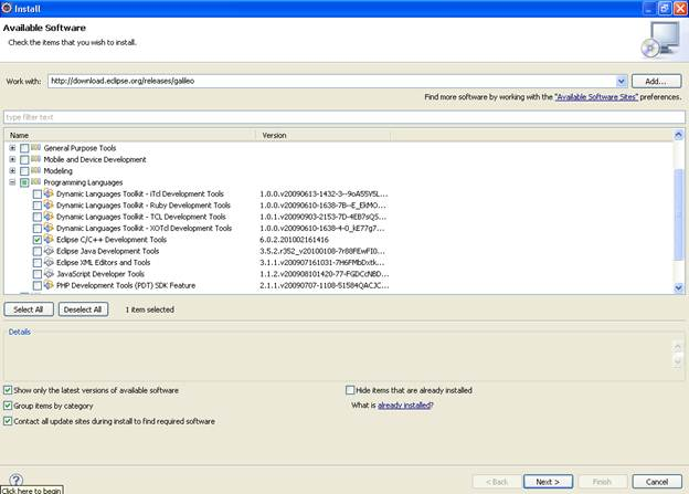 Shows the List of Packages inside the Programming Languages Option. You need to select Eclipse C/C++ Development Tools.