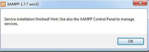 shows a message that you can manage services from XAMPP control panel.