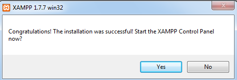 Asks for to start XAMPP or not.