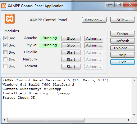xampp control panel showing various services that are running.