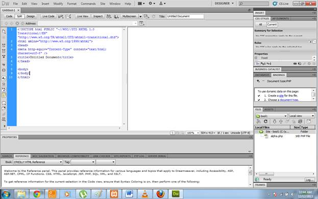Dreamweaver window showing  code section for writing code.