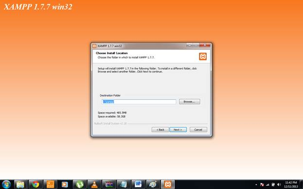 choosing destination folder for xampp installation