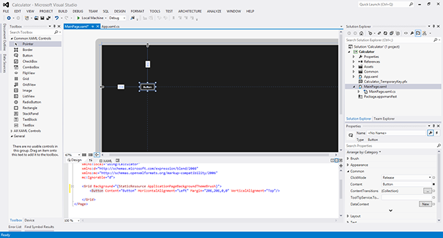 Shows the opened MainPage.xaml file