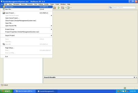 Shows the screenshot of how to create a new EJB project in netbeans (Step -1)
