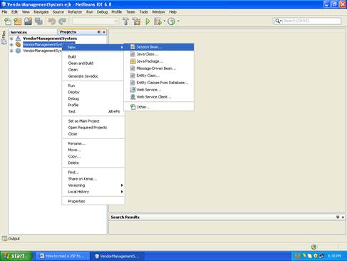 Shows the screenshot of how to create a session bean in netbeans (Step -1)