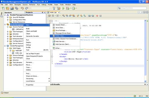 Shows the screenshot of how to create an entity bean in netbeans (Step - 1)