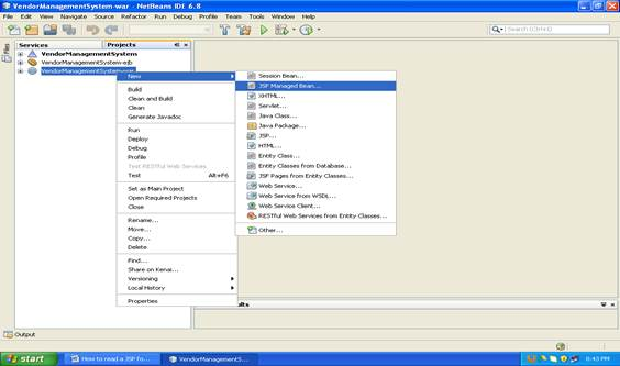 Shows the screenshot of how to create a JSF Managed bean in netbeans (Step -1)
