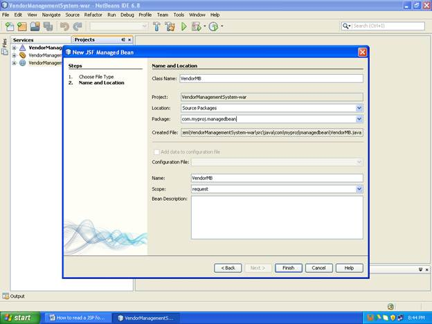 Shows the screenshot of how to create a JSF Managed bean in netbeans (Step -2)