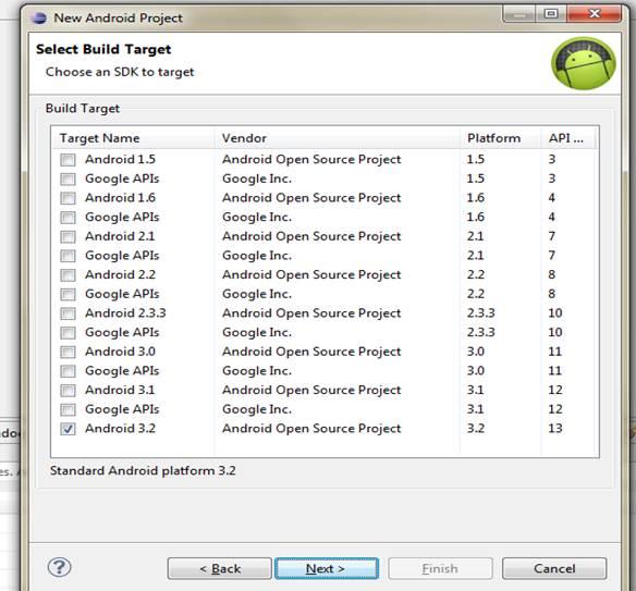 Choosing SDK to target