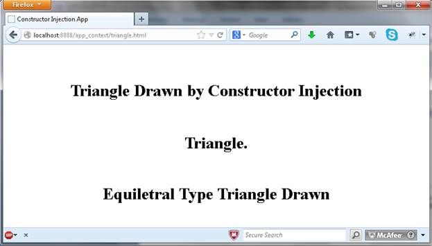 "triangle.html page loaded, while click on the ""Load Triangle"" by controller"