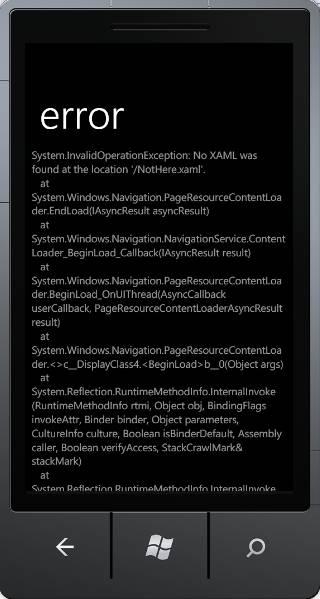 Showing error exception