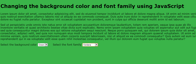 Screenshot of the web page with background color and font changed