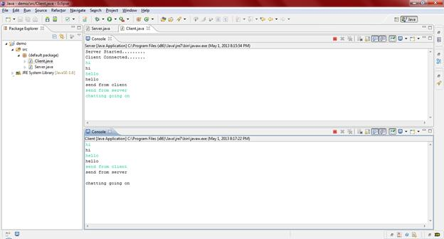 Shows the chatting between Client console and Server console.