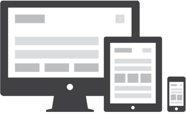 Illustrating the Responsive Website in Computer, Tablet and a Mobile Phone