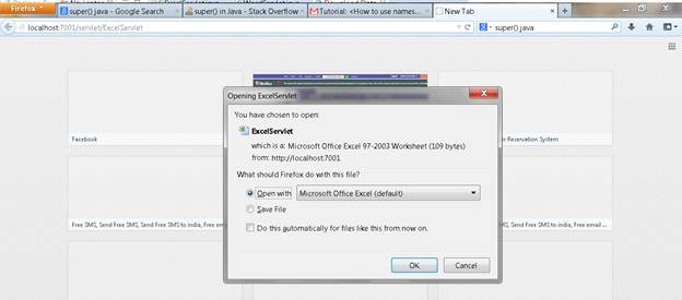 Visit ExcelServlet that prompt the user to download or open the excel sheet.