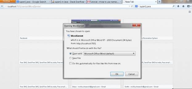 Visit WordServlet that download the Ms-Word document file
