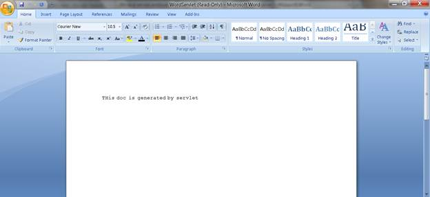 Shows the contents of downloaded Ms-Word document file using the WordServlet