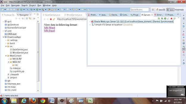 Server Configured into Eclipse IDE for Application Server and Web Server